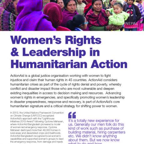 women's rights & Leadership in humanitarian action